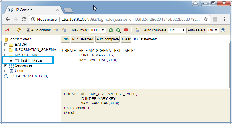 Create H2 database permanent table: created