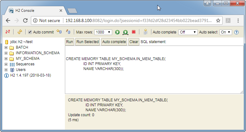 Create H2 database in-memory table: command run
