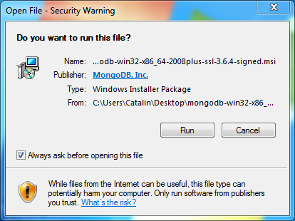 MongoDB Installation on Windows: security warning