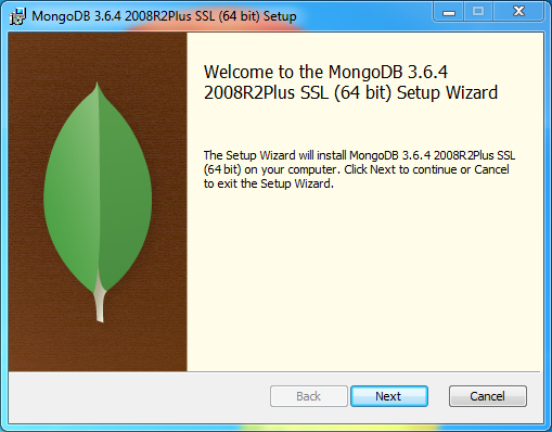 MongoDB Installation on Windows: welcome page