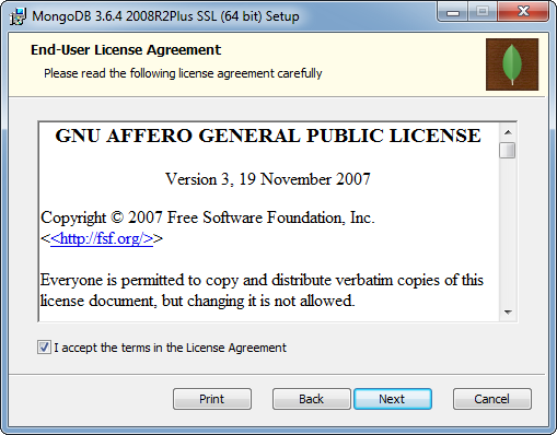 MongoDB Installation on Windows: license agreement