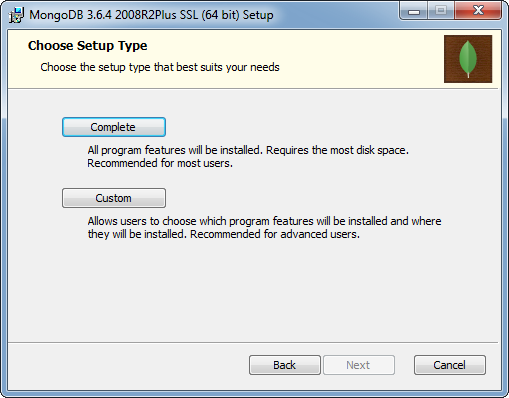 MongoDB Installation on Windows: setup type