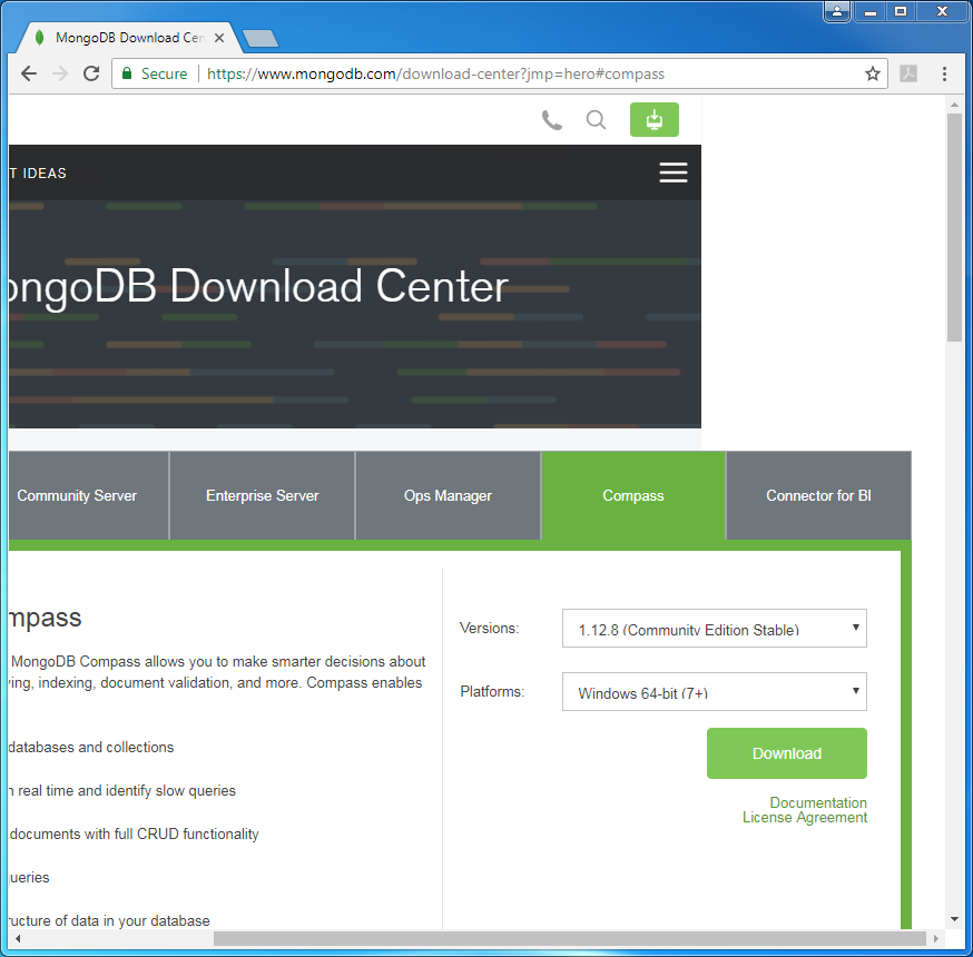 MongoDB Compass Installation on Windows: compass download