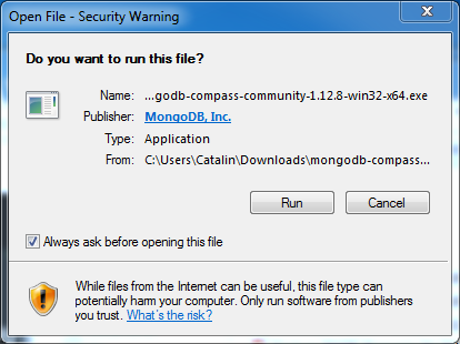 MongoDB Compass Installation on Windows: security warning