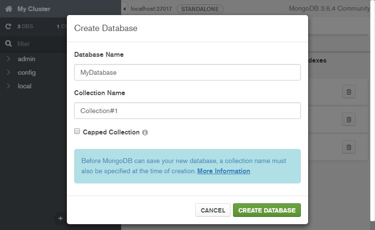 Create a MongoDB Database: database name