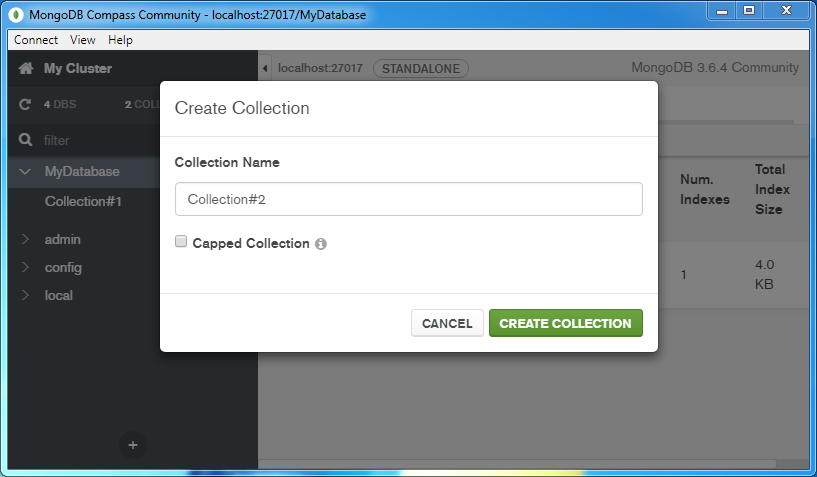 Create a MongoDB Collection: collection name