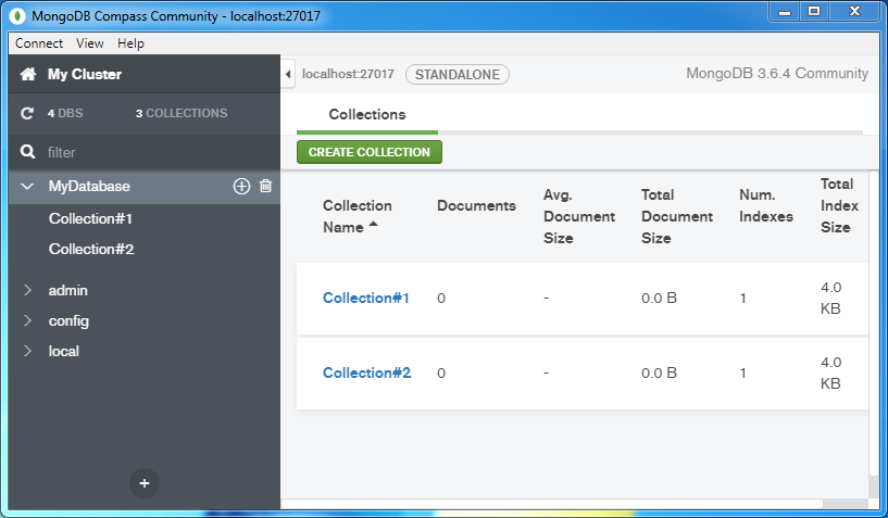 Create a MongoDB Collection: collection created