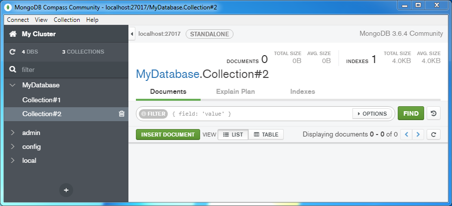 Create a MongoDB Collection: collection without documents
