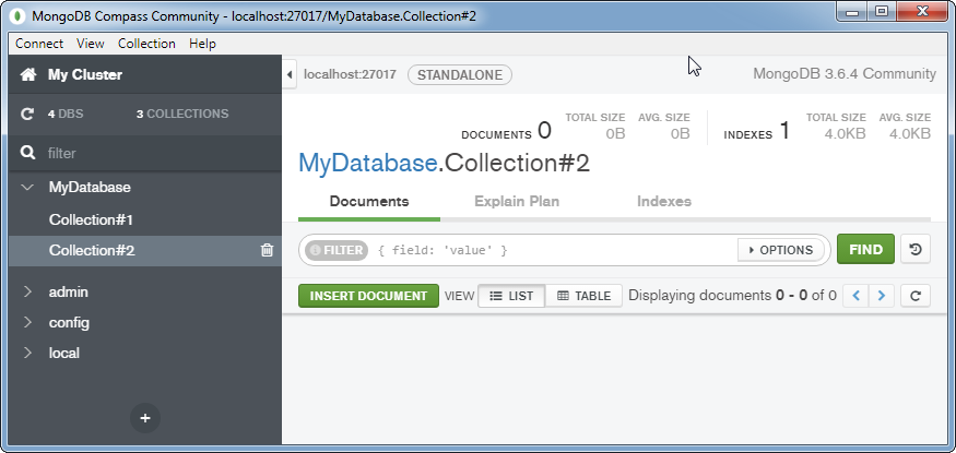 Insert a document into a MongoDB Collection: collection #2