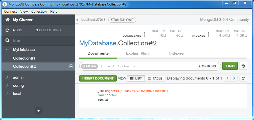 Insert a document into a MongoDB Collection: in collection