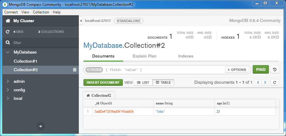 Insert a document into a MongoDB Collection: table like view