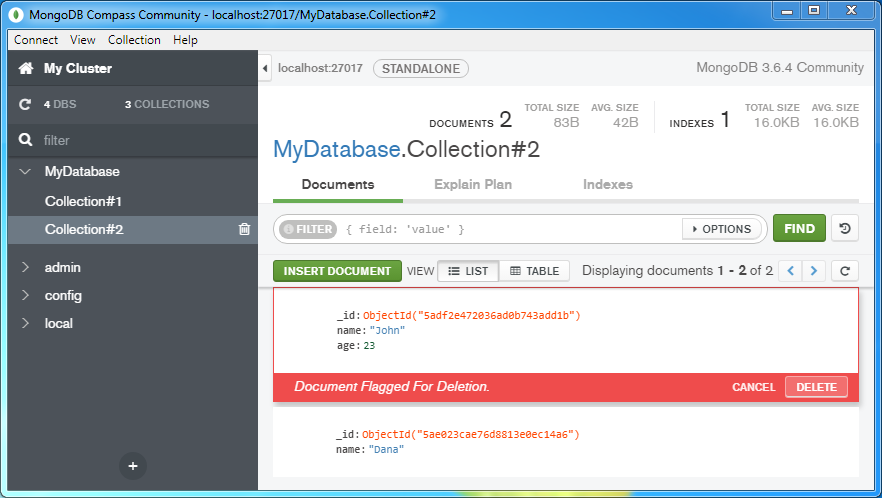 Delete (remove) a document from a MongoDB Collection: the document is flagged for deletion