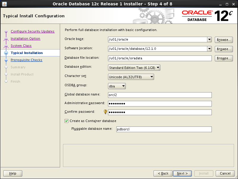 Oracle database 12cR1 Installation on Linux 7 (RHEL7, CentOS7, OEL7): typical installation