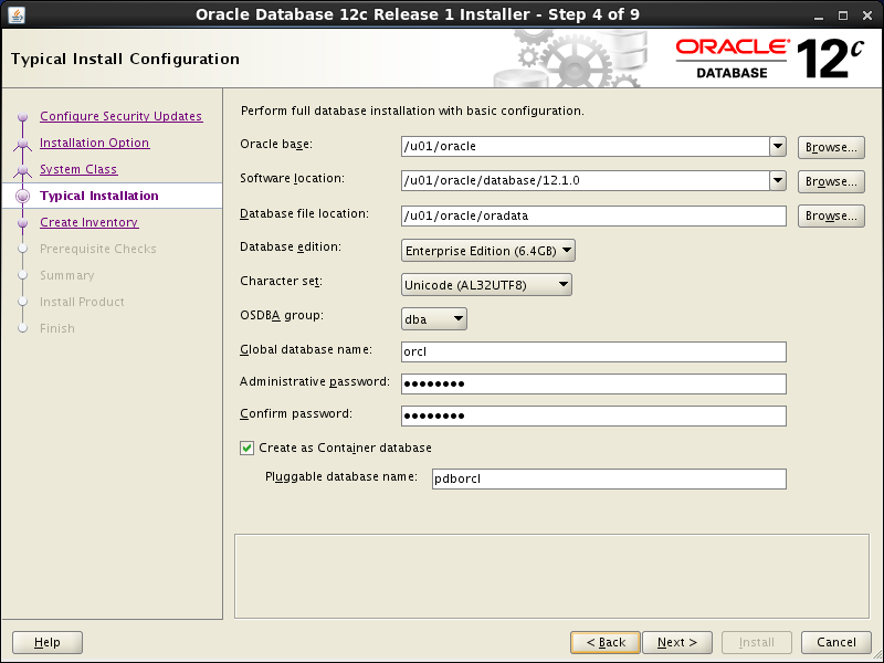Oracle database 12cR1 Installation on Linux 6 (RHEL6, CentOS6, OEL6): typical installation