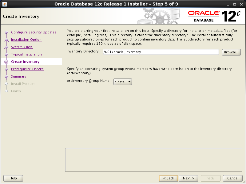 Oracle database 12cR1 Installation on Linux 6 (RHEL6, CentOS6, OEL6): create inventory