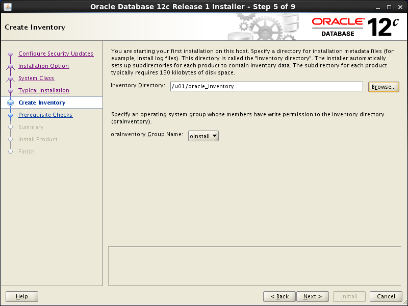 Oracle database 12cR1 Installation on Linux 7 (RHEL7, CentOS7, OEL7): create inventory