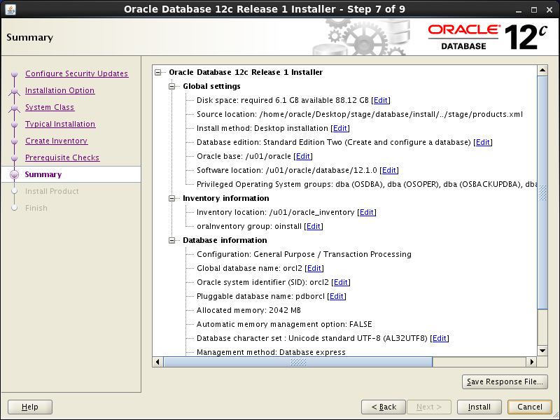 Oracle database 12cR1 Installation on Linux 7 (RHEL7, CentOS7, OEL7): summary