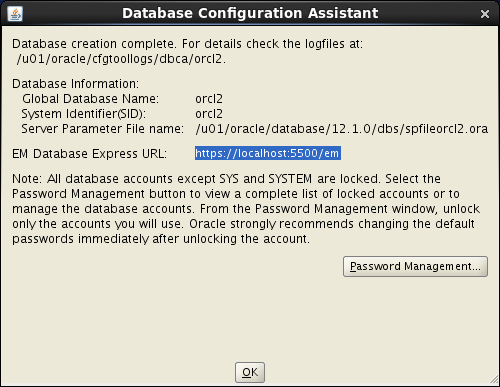 Oracle database 12cR1 Installation on Linux 7 (RHEL7, CentOS7, OEL7): dbca ok