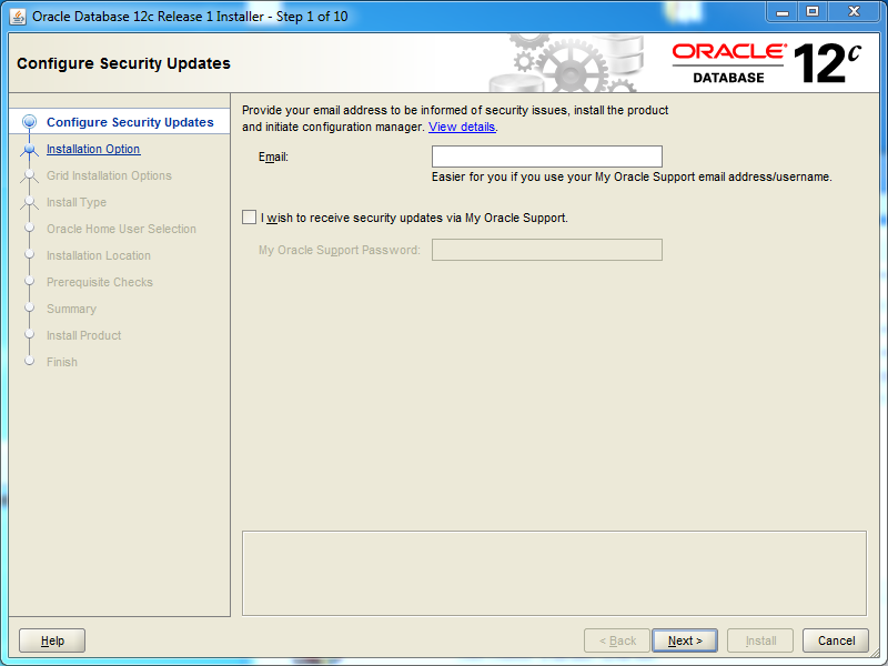 Oracle database 12cR1 Standard Edition 2 Installation on Windows: security updates