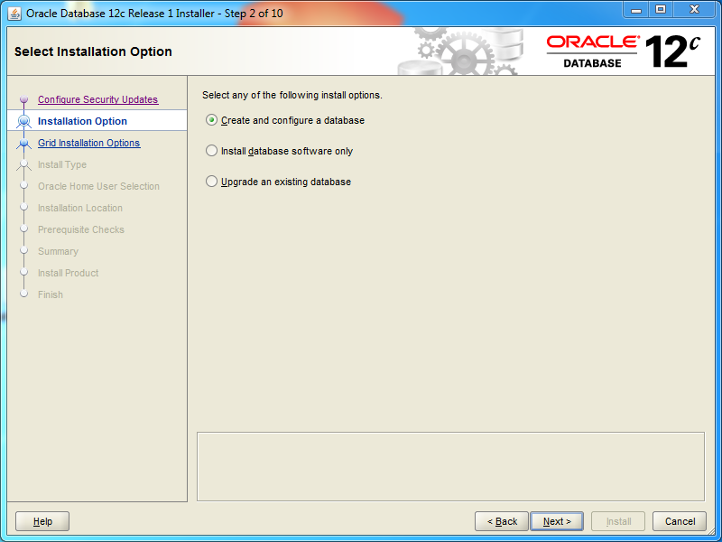 Oracle database 12cR1 Standard Edition 2 Installation on Windows: options