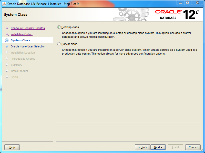 Oracle database 12cR1 Standard Edition 2 Installation on Windows: system class