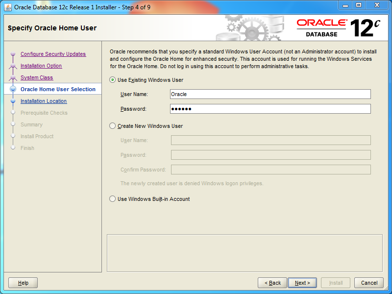 Oracle database 12cR1 Standard Edition 2 Installation on Windows: windows user