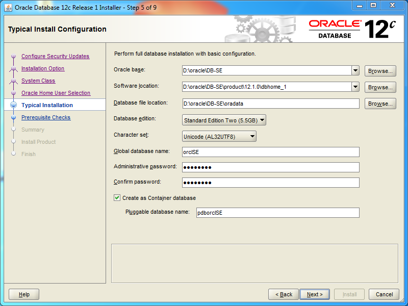 Oracle database 12cR1 Standard Edition 2 Installation on Windows: typical installation