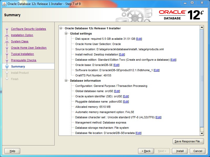 Oracle database 12cR1 Standard Edition 2 Installation on Windows: summary