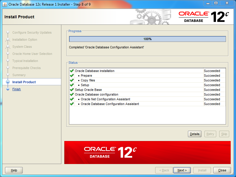 Oracle database 12cR1 Standard Edition 2 Installation on Windows: end