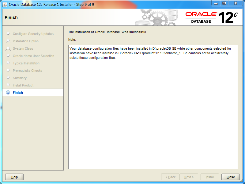 Oracle database 12cR1 Standard Edition 2 Installation on Windows: finish