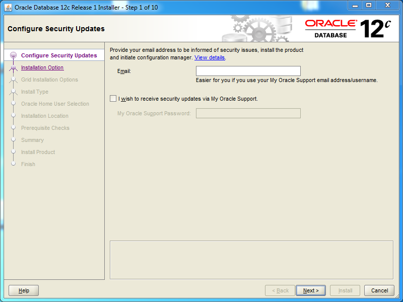 Oracle database 12cR1 EE Installation on Windows: security updates
