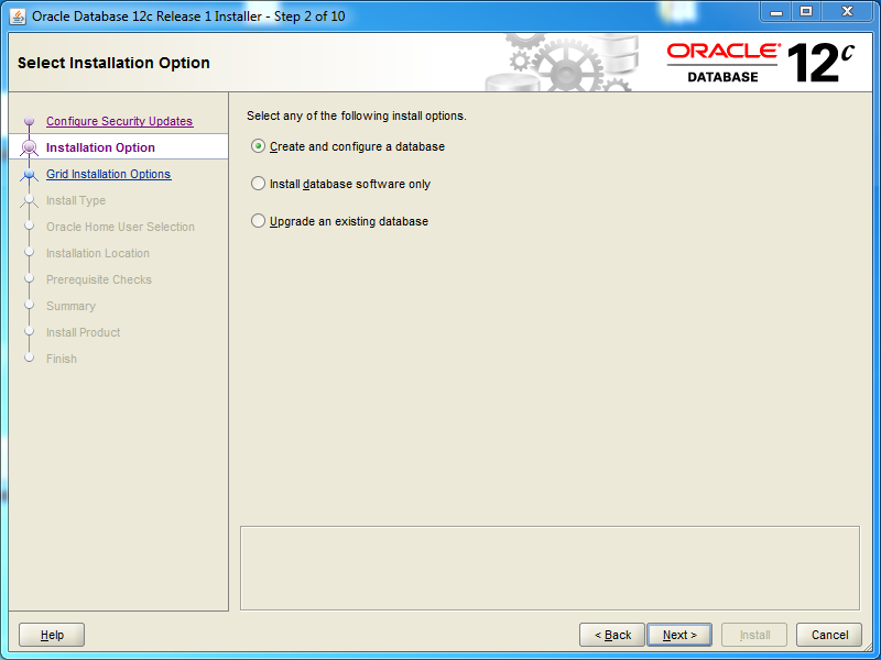 Oracle database 12cR1 EE Installation on Windows: installation options