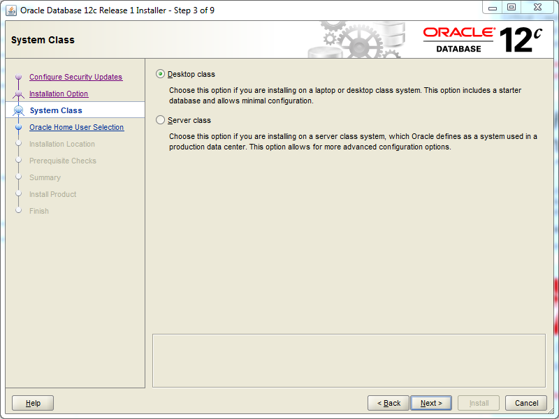 Oracle database 12cR1 EE Installation on Windows: system class