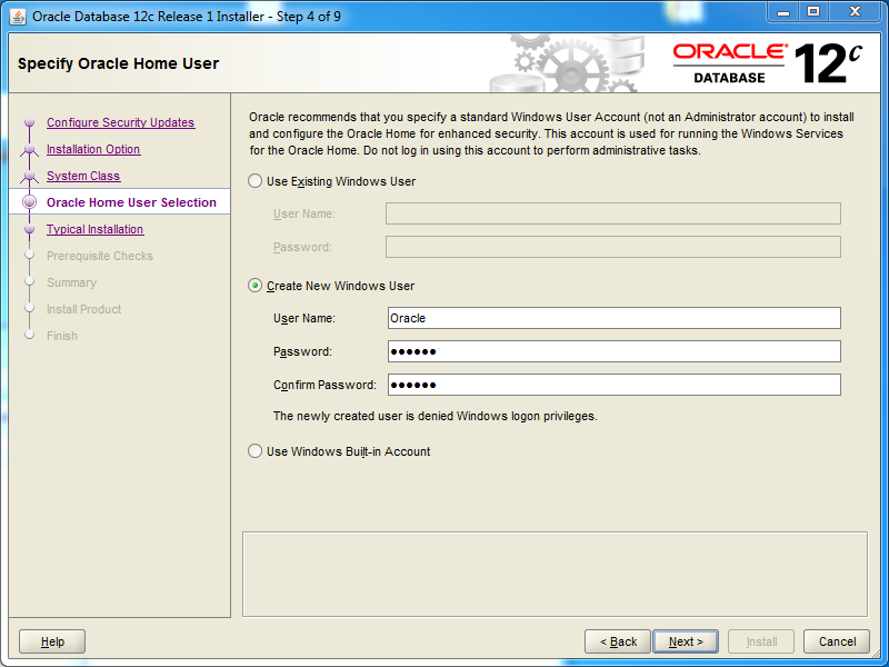 Oracle database 12cR1 EE Installation on Windows: os user
