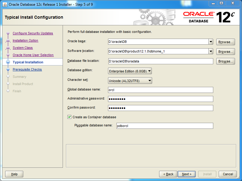Oracle database 12cR1 EE Installation on Windows: typical installation