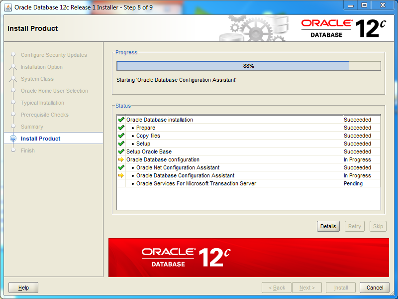 Oracle database 12cR1 EE Installation on Windows: install products
