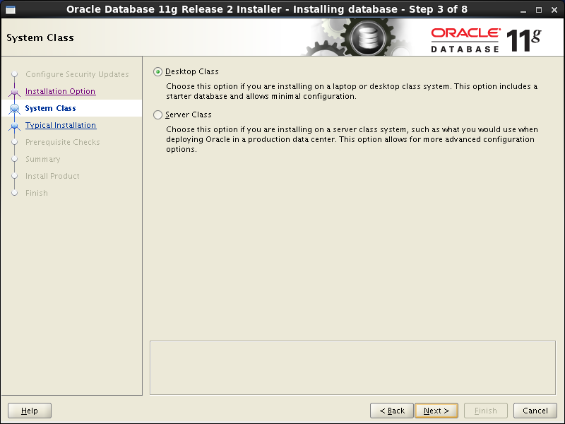 Oracle database 11gR2 Installation on Linux 6: system class