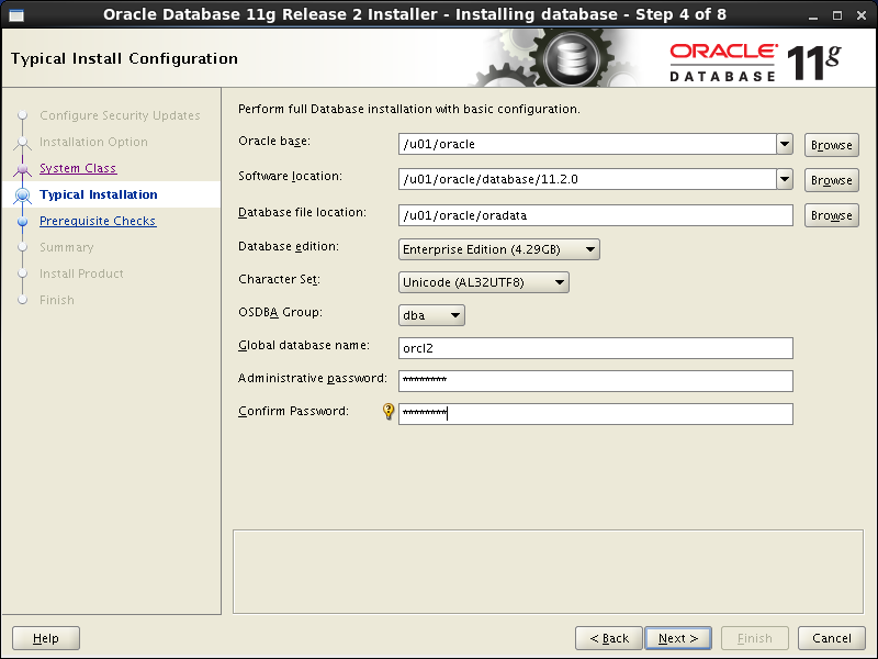 Oracle database 11gR2 Installation on Linux 6: typical installation