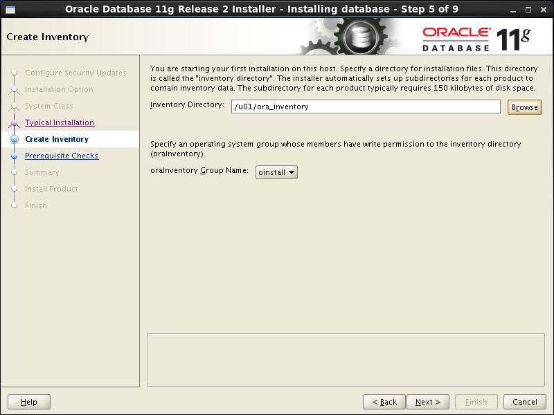 Oracle database 11gR2 Installation on Linux 6: create inventory