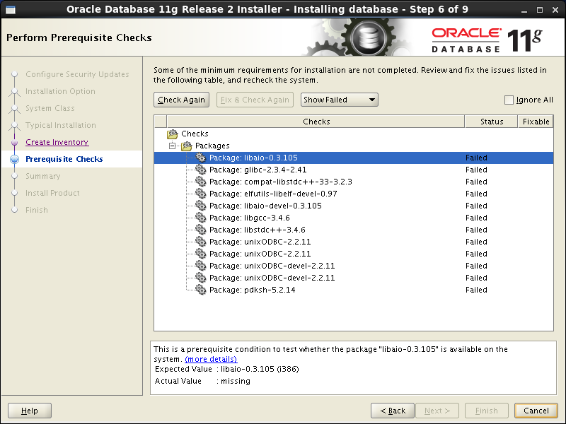 Oracle database 11gR2 Installation on Linux 6: prerequisites