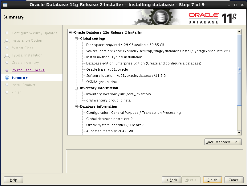 Oracle database 11gR2 Installation on Linux 6: summary
