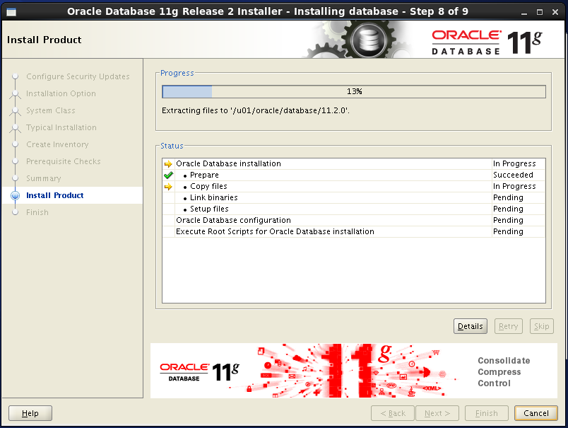 Oracle database 11gR2 Installation on Linux 6: progress