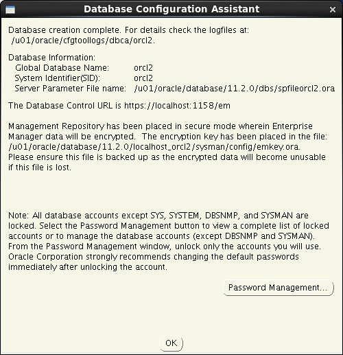 Oracle database 11gR2 Installation on Linux 6: configuration assistant ok