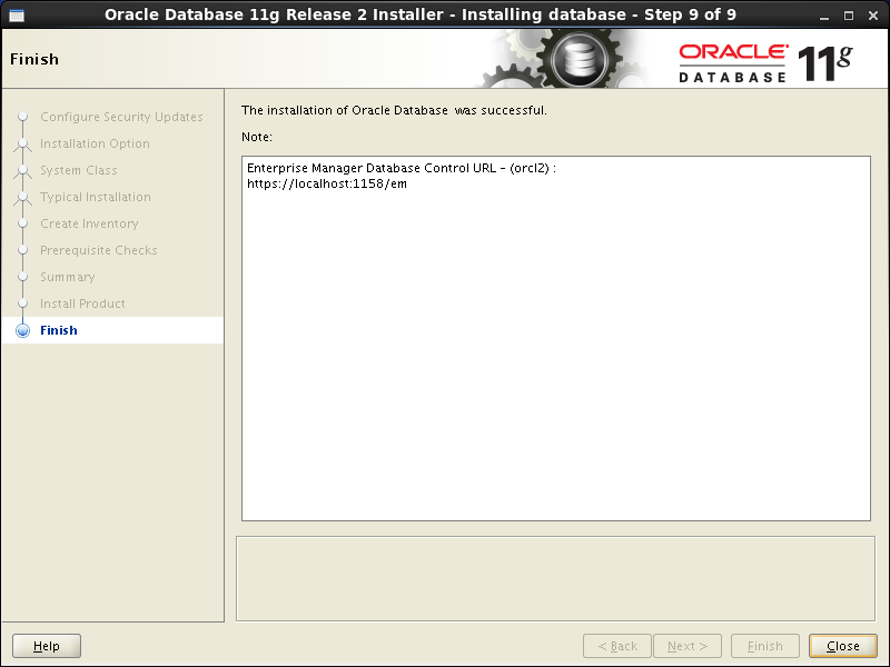 Oracle database 11gR2 Installation on Linux 6: close