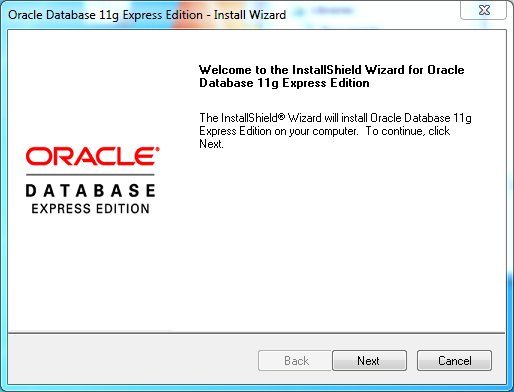 Oracle database 11gR2 Express Edition Installation on Windows: welcome