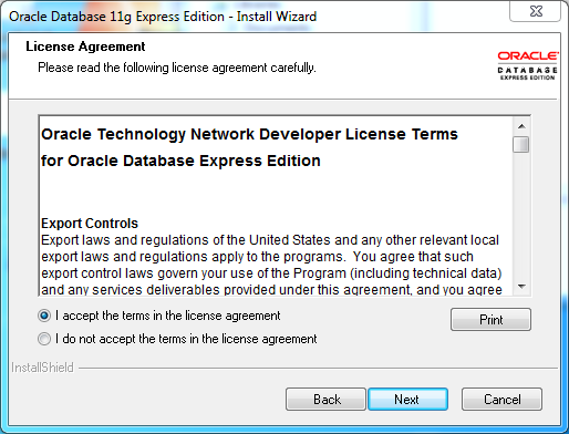 Oracle database 11gR2 Express Edition Installation on Windows: license