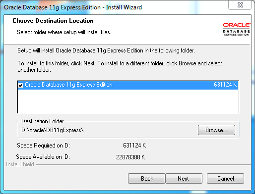 Oracle database 11gR2 Express Edition Installation on Windows: destination