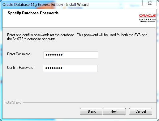 Oracle database 11gR2 Express Edition Installation on Windows: password