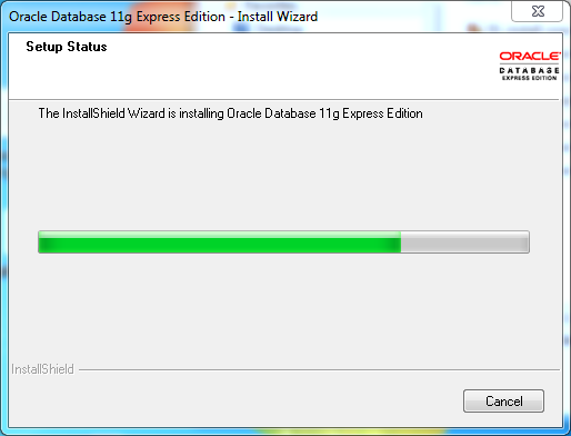 Oracle database 11gR2 Express Edition Installation on Windows: progress