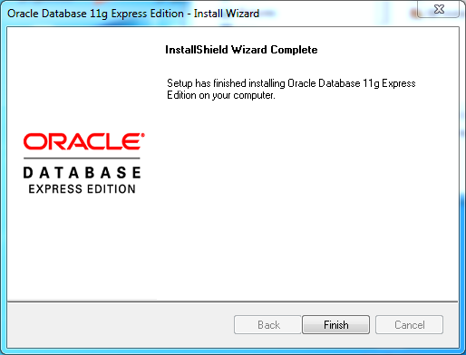 Oracle database 11gR2 Express Edition Installation on Windows: complete